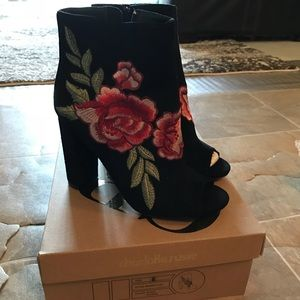 Black Embroidered Rose Ankle Booties